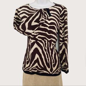 🆕 J Crew 100% Silk Animal Print Blouse